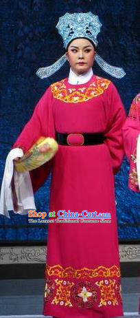 Chinese Yue Opera Wu Nv Bai Shou Young Male Costumes and Headwear Shaoxing Opera Scholar Apparels Garment Rosy Robe