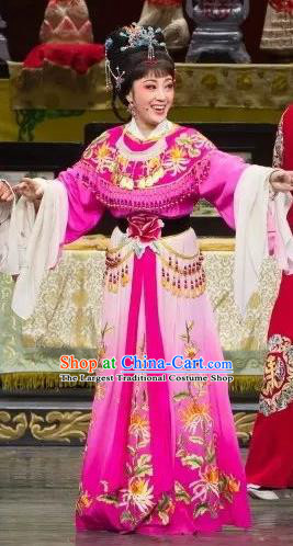 Chinese Shaoxing Opera Actress Rosy Dress Apparels Yue Opera Wu Nv Bai Shou Hua Dan Costumes Garment and Headpieces