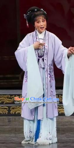 Chinese Shaoxing Opera Civilian Female Purple Dress Apparels Yue Opera Wu Nv Bai Shou Hua Dan Costumes Yang Sanchun Garment and Hair Accessories