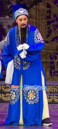 Chinese Yue Opera Elderly Male Wu Nv Bai Shou Costumes and Hat Shaoxing Opera Assistant Minister Apparels Yang Jikang Blue Garment