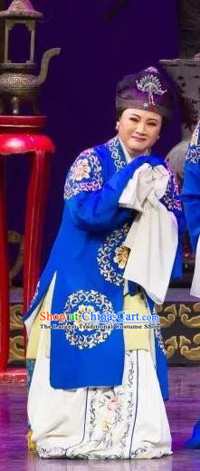 Chinese Shaoxing Opera Rich Dame Blue Dress Apparels Yue Opera Wu Nv Bai Shou Lao Dan Costumes Elderly Female Garment and Headdress