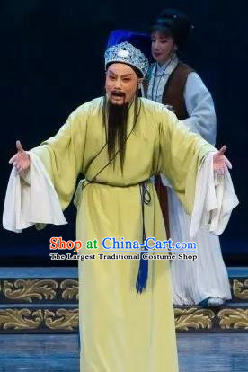 Chinese Yue Opera Wu Nv Bai Shou Elderly Male Costumes and Hat Shaoxing Opera Apparels Yang Jikang Green Robe Garment