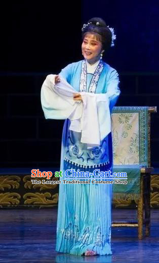 Chinese Shaoxing Opera Country Female Blue Dress Apparels Yue Opera Wu Nv Bai Shou Hua Dan Costumes Actress Yang Sanchun Garment and Headpiece
