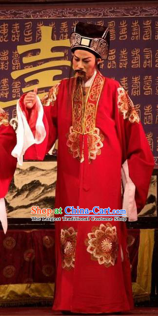 Chinese Yue Opera Old Man Wu Nv Bai Shou Landlord Costumes and Hat Shaoxing Opera Apparels Elderly Male Yang Jikang Vestment Red Garment
