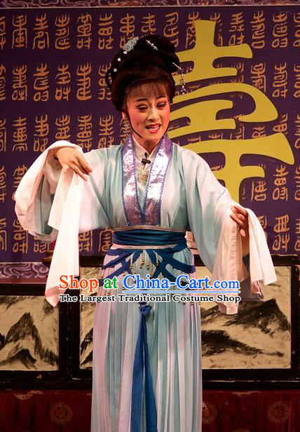 Chinese Shaoxing Opera Diva Green Dress Yue Opera Wu Nv Bai Shou Costumes Hua Tan Actress Garment Apparels and Hair Ornaments