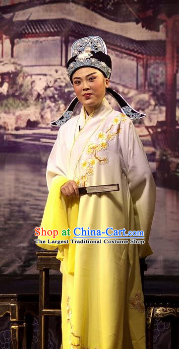 Chinese Yue Opera Young Man Wu Nv Bai Shou Costumes and Hat Shaoxing Opera Apparels Xiao Sheng Yellow Embroidered Robe Garment