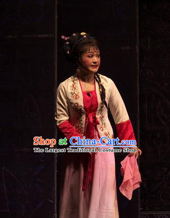 Chinese Shaoxing Opera Xiao Dan Dress Yue Opera Wu Nv Bai Shou Costumes Garment Servant Girl Cui Yun Apparels and Hair Ornaments