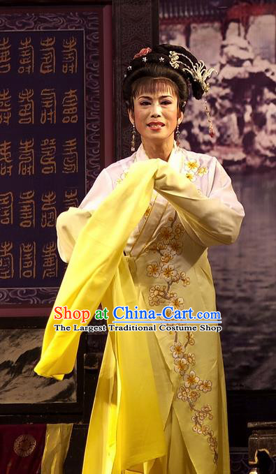 Chinese Shaoxing Opera Hua Tan Embroidered Yellow Dress Yue Opera Wu Nv Bai Shou Costumes Garment Young Female Apparels and Headpieces