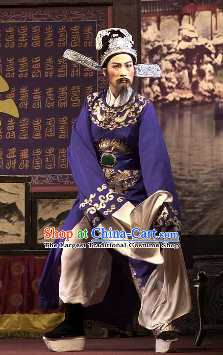 Chinese Yue Opera Elderly Man Wu Nv Bai Shou Costumes and Hat Shaoxing Opera Apparels Lao Sheng Embroidered Robe Blue Vestment Garment