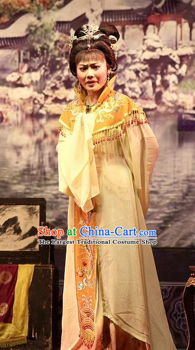Chinese Shaoxing Opera Young Mistress Embroidered Dress Yue Opera Wu Nv Bai Shou Costumes Garment Noble Female Apparels and Headpieces