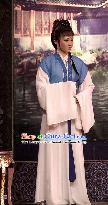 Chinese Shaoxing Opera Servant Girl Cui Yun Dress Yue Opera Wu Nv Bai Shou Xiaodan Costumes Garment Maidservant Apparels and Hair Ornament
