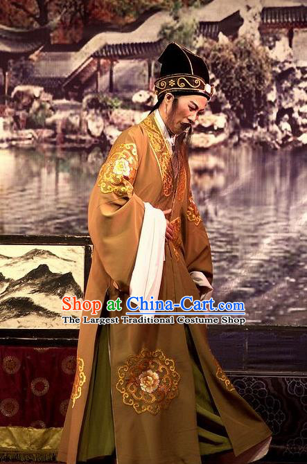 Chinese Yue Opera Laosheng Wu Nv Bai Shou Costumes and Hat Shaoxing Opera Apparels Elderly Male Embroidered Robe Landlord Yang Jikang Garment