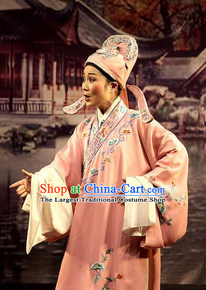 Chinese Yue Opera Xiaosheng Wu Nv Bai Shou Costumes and Headwear Shaoxing Opera Young Male Apparels Scholar Pink Embroidered Robe Garment