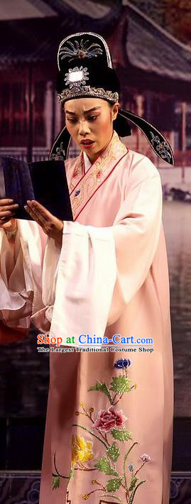 Chinese Yue Opera Young Male Wu Nv Bai Shou Costumes and Headwear Shaoxing Opera Scholar Xiaosheng Pink Embroidered Robe Apparels Garment