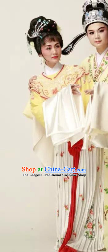 Chinese Shaoxing Opera Young Lady Yellow Dress Yue Opera Wu Nv Bai Shou Huadan Costumes Garment Actress Apparels and Headpieces