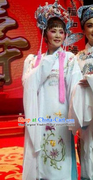 Chinese Shaoxing Opera Hua Tan White Dress Yue Opera Wu Nv Bai Shou Huadan Costumes Garment Actress Diva Apparels and Headwear