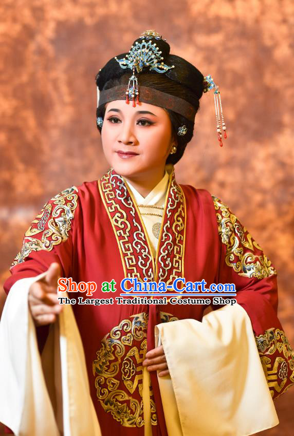 Chinese Shaoxing Opera Countess Red Cape Dress Yue Opera Wu Nv Bai Shou Laodan Costumes Elderly Dame Garment Apparels and Headdress