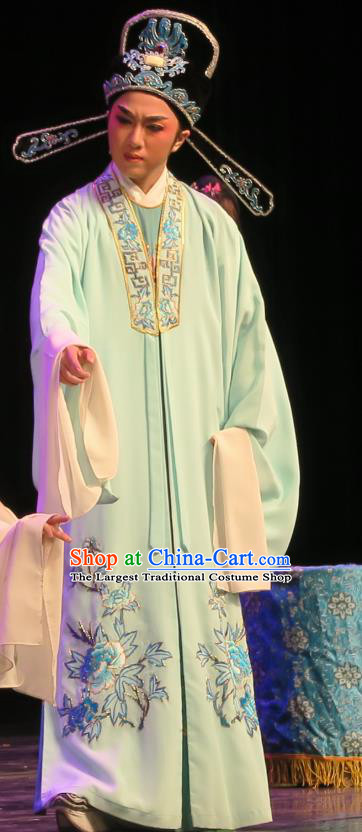 Chinese Yue Opera Wu Nv Bai Shou Scholar Costumes and Headwear Shaoxing Opera Xiaosheng Apparels Garment Young Male Embroidered Green Cape