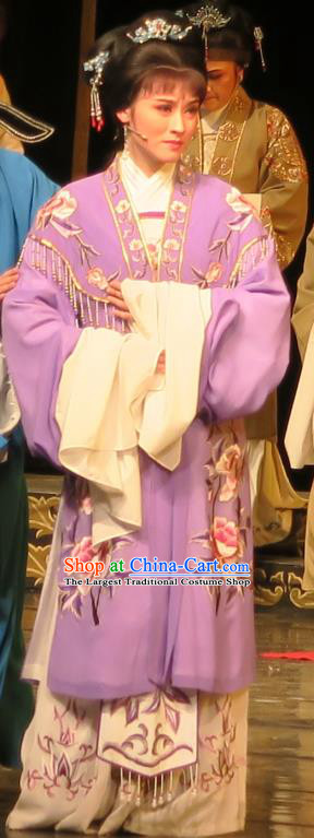 Chinese Shaoxing Opera Hua Tan Yang Sanchun Purple Cape Dress Yue Opera Wu Nv Bai Shou Costumes Young Female Garment Apparels and Headpieces