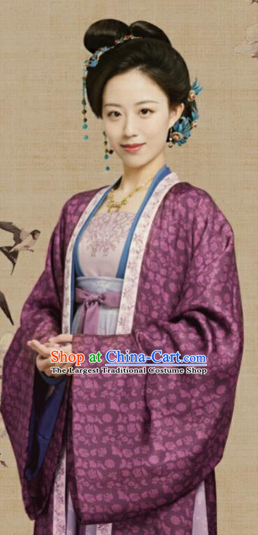 Chinese Ancient Royal Countess Clothing Drama Serenade of Peaceful Joy Song Dynasty Noble Dame Historical Costumes and Hair Jewelry