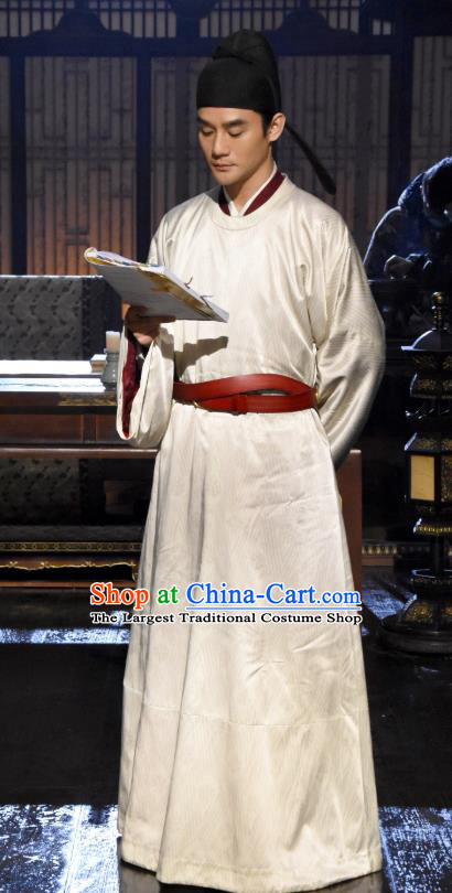 Chinese Ancient Emperor White Clothing Drama Serenade of Peaceful Joy Song Dynasty Renzong Monarch Zhao Zhen Wang Kai Historical Costumes and Hat