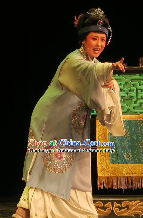 Chinese Shaoxing Opera Laodan Blue Cape Dress Yue Opera Wu Nv Bai Shou Costumes Elderly Female Garment Dame Apparels and Headdress
