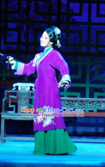 Chinese Shaoxing Opera Noble Consort Purple Dress and Headpieces Yue Opera Costume Tan Chun Concubine Zhao Apparels Garment