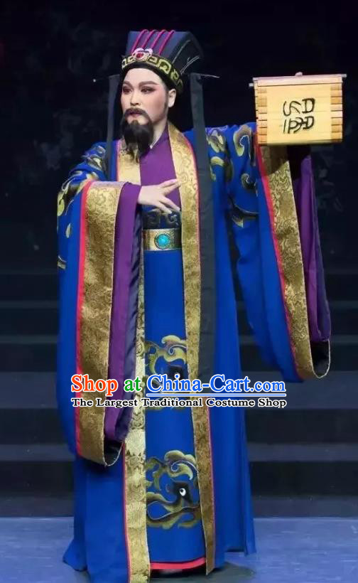 Chinese Yue Opera Minister Costumes and Headwear Han Xing Wei Yang Shaoxing Opera Apparels Garment Han Dynasty Official Clothing