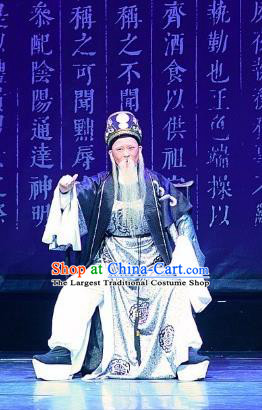 Chinese Yue Opera Old Man Costumes and Headwear Han Xing Wei Yang Shaoxing Opera Garment Han Dynasty Elderly Male Clothing Apparels