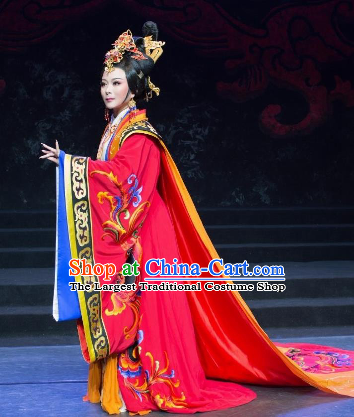 Chinese Shaoxing Opera Empress Dress Costume and Headdress Yue Opera Apparels Court Lady Han Dynasty Queen Garment