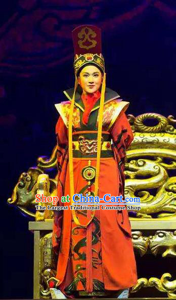 Chinese Yue Opera Young Male Costumes and Headpieces Han Xing Wei Yang Shaoxing Opera Emperor Garment Apparels Clothing
