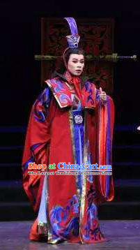 Chinese Yue Opera Emperor Costumes and Headpieces Han Xing Wei Yang Shaoxing Opera Garment Clothing Young Male Apparels