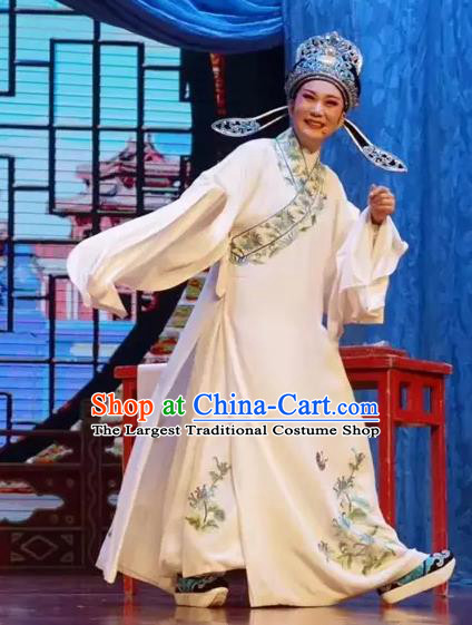 Chinese Yue Opera Young Male Costumes and Headwear A Bride For A Ride Shaoxing Opera Scholar Garment Zhou Wenbin Apparels Robe