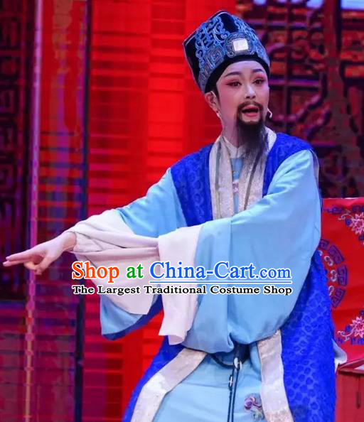 Chinese Yue Opera Elderly Male Costumes and Headwear A Bride For A Ride Shaoxing Opera Old Man Apparels Garment