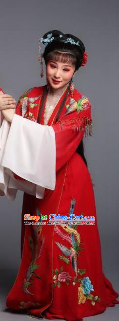 Chinese Shaoxing Opera Huadan A Bride For A Ride Wang Xiuying Apparels and Headpieces Yue Opera Young Lady Garment Red Dress Costume