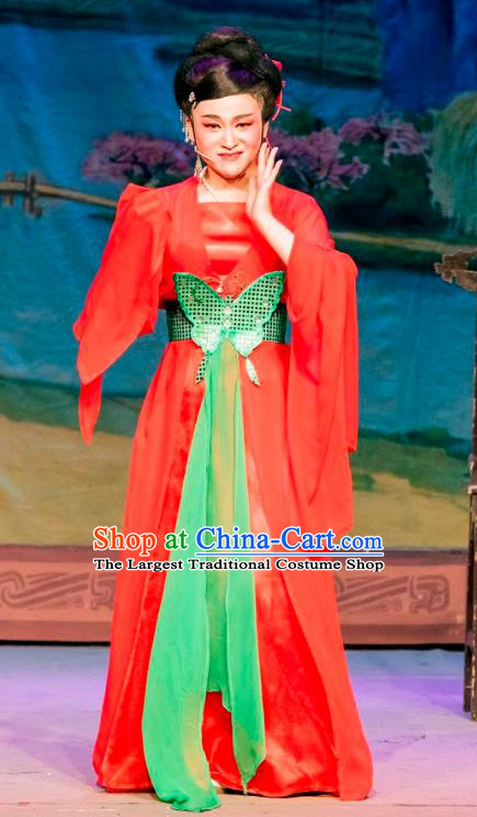 Chinese Shaoxing Opera Actress Red Dress Apparels and Hair Ornaments Hu Die Meng Butterfly Dream Yue Opera Young Lady Tian Xiu Garment Costumes