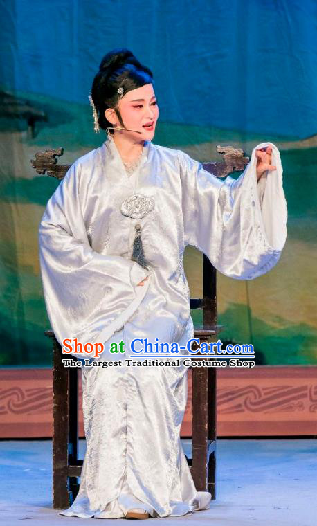 Chinese Shaoxing Opera Elderly Dame Dress Apparels and Hair Ornaments Hu Die Meng Butterfly Dream Yue Opera Female Garment Costumes