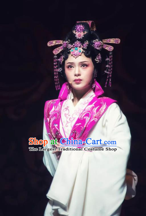 Chinese Shaoxing Opera Princess Huyang Costumes and Hair Jewelry Changle Palace Yue Opera Garment Actress Court Lady Dress Apparels