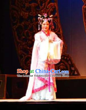 Chinese Shaoxing Opera Court Lady Costumes and Hair Jewelry Changle Palace Yue Opera Actress Garment Han Dynasty Princess Huyang Apparels Hanfu Dress