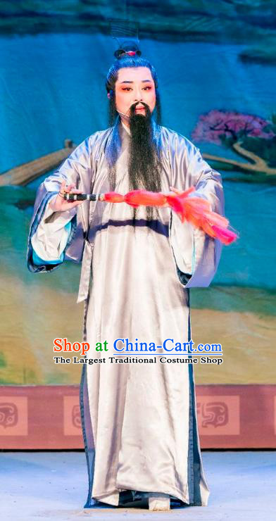 Chinese Yue Opera Elderly Man Apparels Costumes and Headpiece Hu Die Meng Butterfly Dream Shaoxing Opera Laosheng Garment Zhuang Zhou Grey Robe