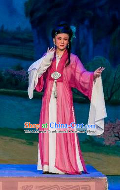 Chinese Shaoxing Opera Young Female Rosy Dress Costumes and Headpieces Hu Die Meng Butterfly Dream Yue Opera Dame Garment Apparels