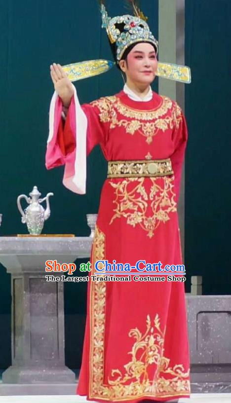 Chinese Yue Opera Young Male Apparels Xiang Luo Ji Costumes and Hat Shaoxing Opera Xiaosheng Garment Number One Scholar Embroidered Robe
