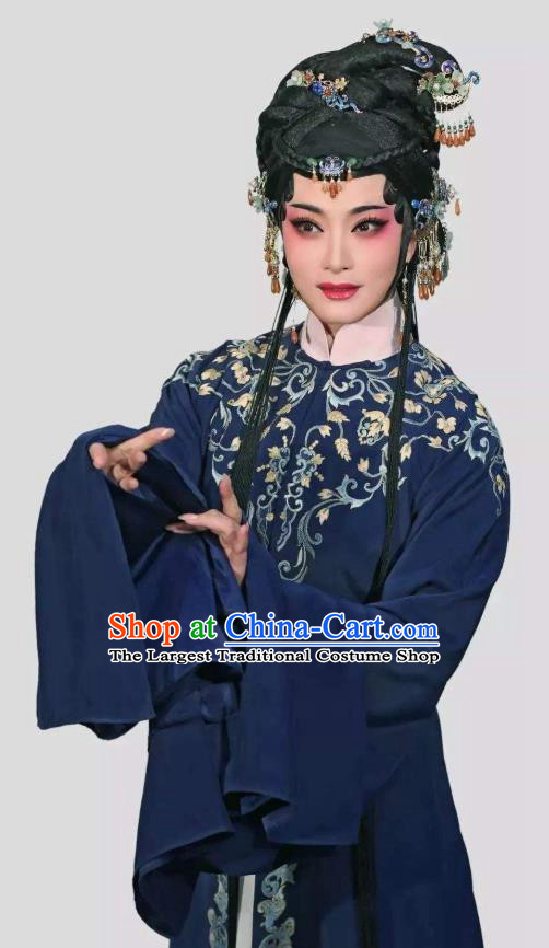 Chinese Shaoxing Opera Tsing Yi Navy Dress Young Female Costumes and Hair Accessories Xiang Luo Ji Yue Opera Actress Distress Maiden Garment Apparels