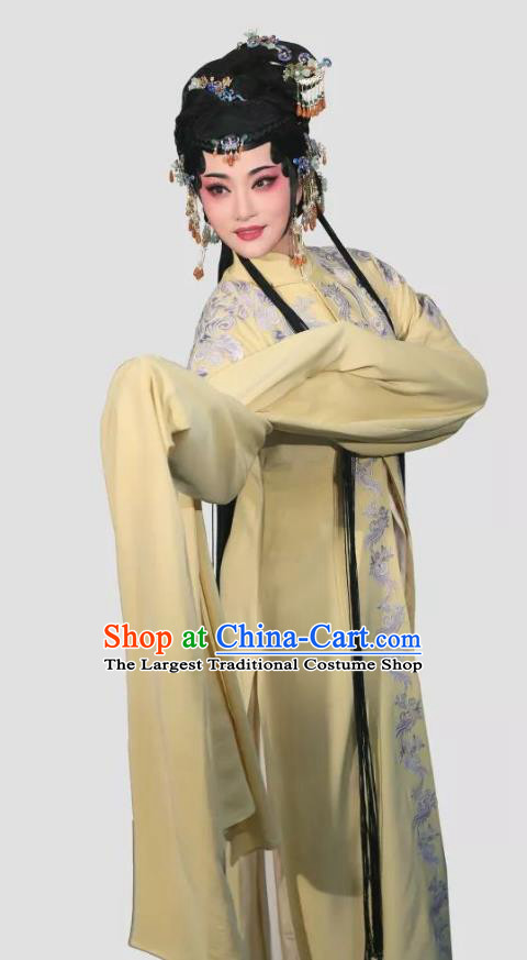 Chinese Shaoxing Opera Young Mistress Costumes and Headpieces Xiang Luo Ji Yue Opera Huadan Garment Apparels Clothing Female Yellow Dress