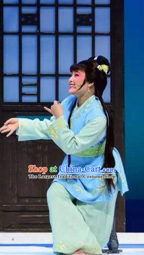 Chinese Shaoxing Opera Slave Girl Costumes and Hair Ornament Xiang Luo Ji Yue Opera Xiao Dan Garment Apparels Clothing Young Maidservant Dress