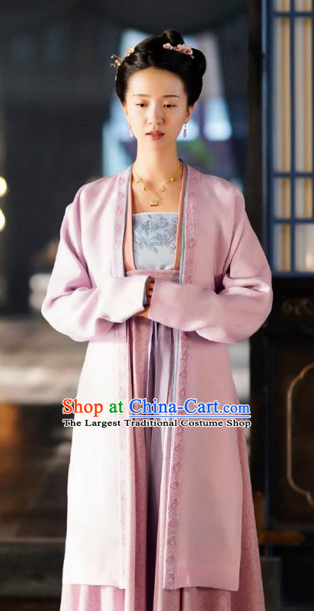 Chinese Ancient Imperial Consort Miao Hanfu Dress and Headpieces Drama Serenade of Peaceful Joy Garment Song Dynasty Female Historical Costumes