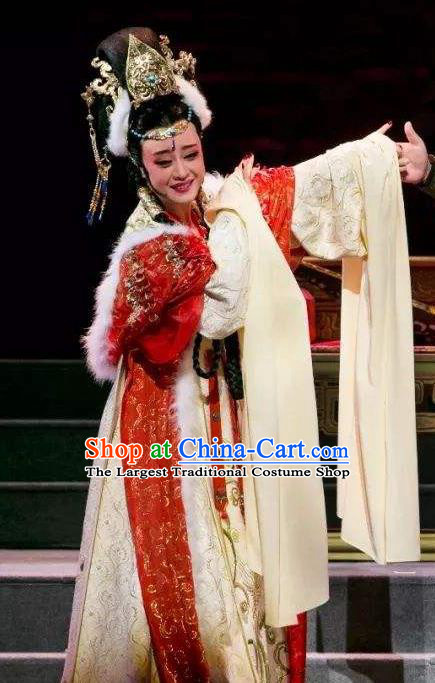 Chinese Shaoxing Opera Queen Actress Apparels Dress and Headdress The Desolate Palace of Liao Yue Opera Hua Tan Empress Xiao Guanyin Garment Costumes