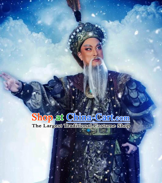 Chinese Yue Opera Elderly Man Costumes and Hat Shaoxing Opera The Desolate Palace of Liao Apparels Garment General Armor Clothing