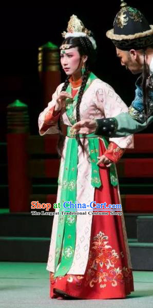 Chinese Shaoxing Opera Princess Dress Costumes and Headwear The Desolate Palace of Liao Yue Opera Hua Tan Shan Deng Garment Apparels