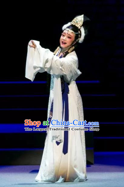 Chinese Shaoxing Opera Queen White Dress Costumes and Headdress The Desolate Palace of Liao Yue Opera Hua Tan Xiao Guanyin Garment Apparels